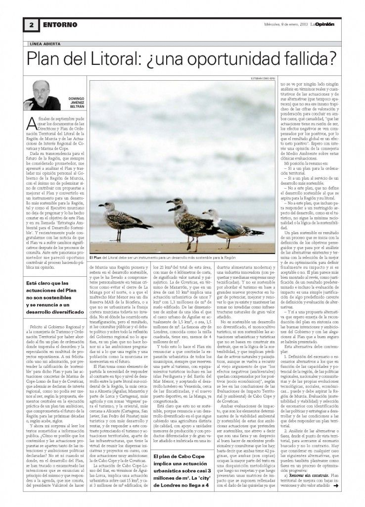 2003 01 07_Plan Litoral-LA OPINION INT-1