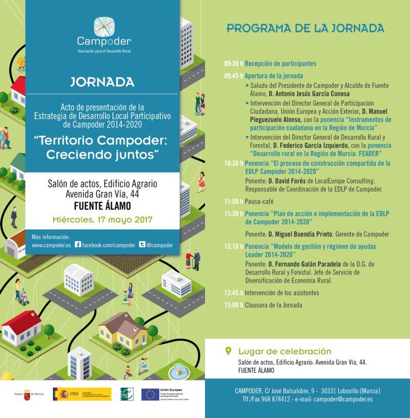 edpl - La Asociación Campoder gestionará una estrategia de desarrollo rural que beneficiará a ocho municipios de las comarcas del Guadalentín y Campo de Murcia y Cartagena, durante el período de programación 2014-2020